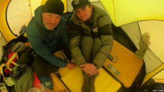 Jamie Clarke and his son Khobe in Mongolia