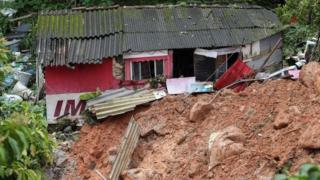 A house destroyed by a landslide in Guarujá, São Paulo state, Brazil. Photo: 3 March 2020